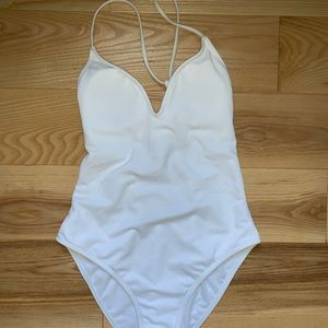 PacSun LA Hearts White Braided Back One Piece Suit